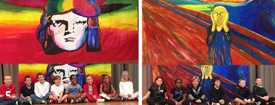 Students at Indian Riffle Elementary Brought Famous Artists and Musicians to Life with their 'Living Mural' Project